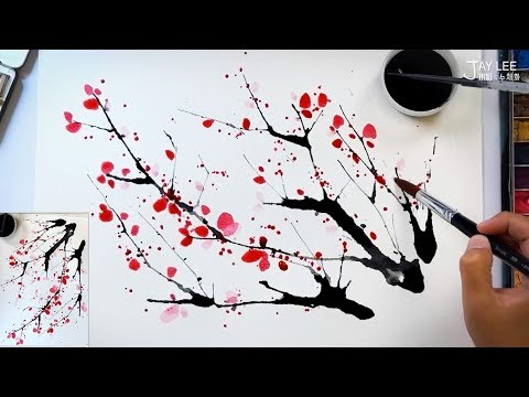 Easy to draw a cherry blossom using a straw and splatter painting technique