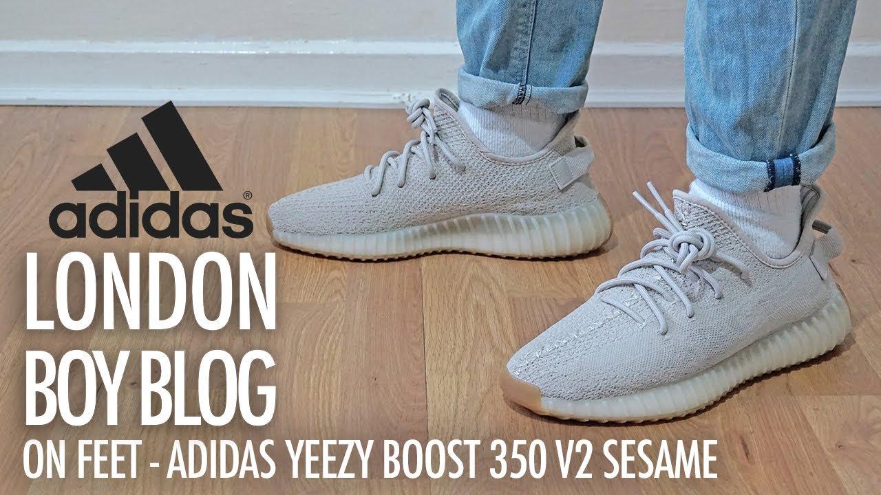 best cheap bbb75 5b2ed On Feet - Adidas YEEZY BOOST 350 V2 Sesame