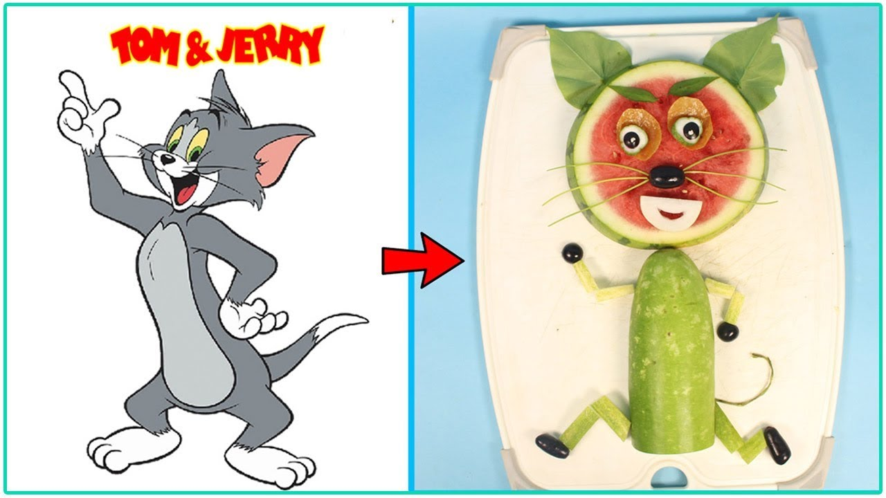 Creative Ideas TOM Cat With Watermelon - 2 Fruit carving for kids