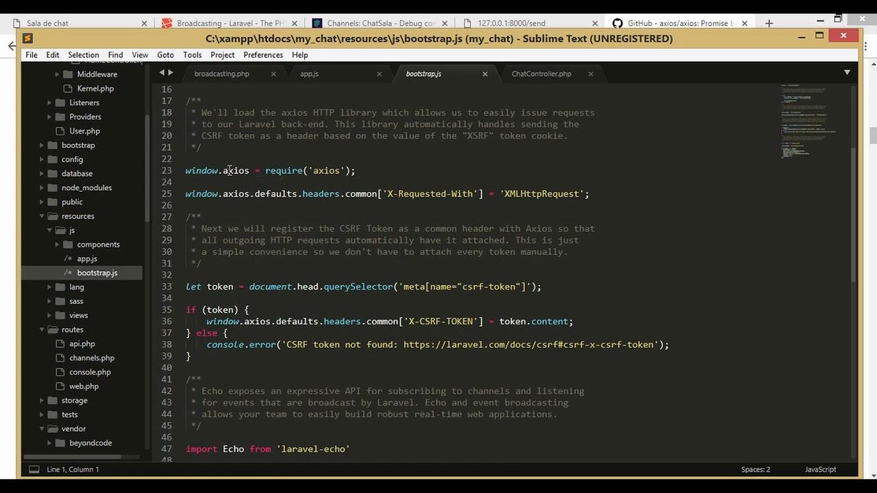 7 Chat en tiempo real con Laravel 5 7, Bootstrap 4, Vue js