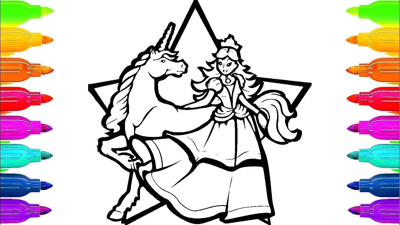 Renkli Işaretleyicilerle Kuşaklar Için Unicorn Boyama Kitabı Ve