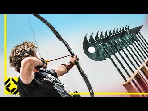Can You Fire an Arrow through 12 Axes? (Odysseus Archery Challenge)