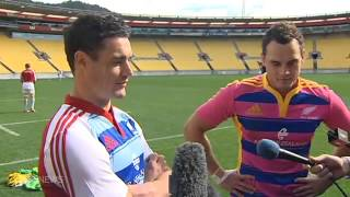 Dan Carter hassles Israel Dagg for being pretty in pink