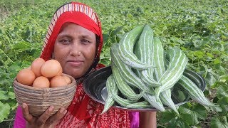 Delicious Easy Cooking Snake Gourd & Egg Fry Recipe FARM FRESH Snake Gourd Fried Curry Village Food