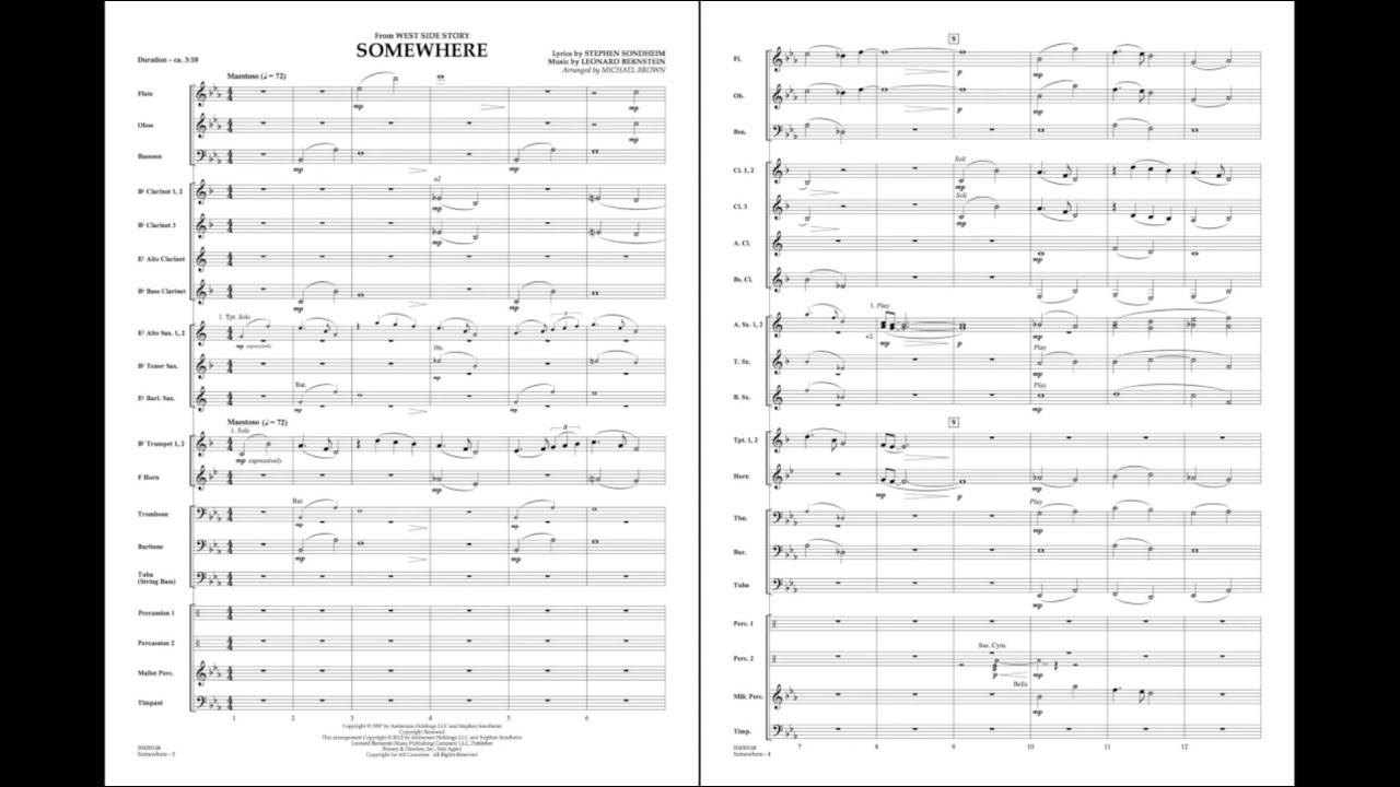 Somewhere (from West Side Story) by Leonard Bernstein/arr. Michael Brown
