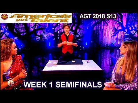 Shin Lim Card Magician Part1 with Heidi &Tyra SENSATIONAL Semifinals 1 America's Got Talent 2018 AGT