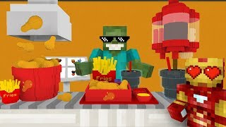 - Monster School WORK AT FRIED CHICKEN PLACE Minecraft Animation