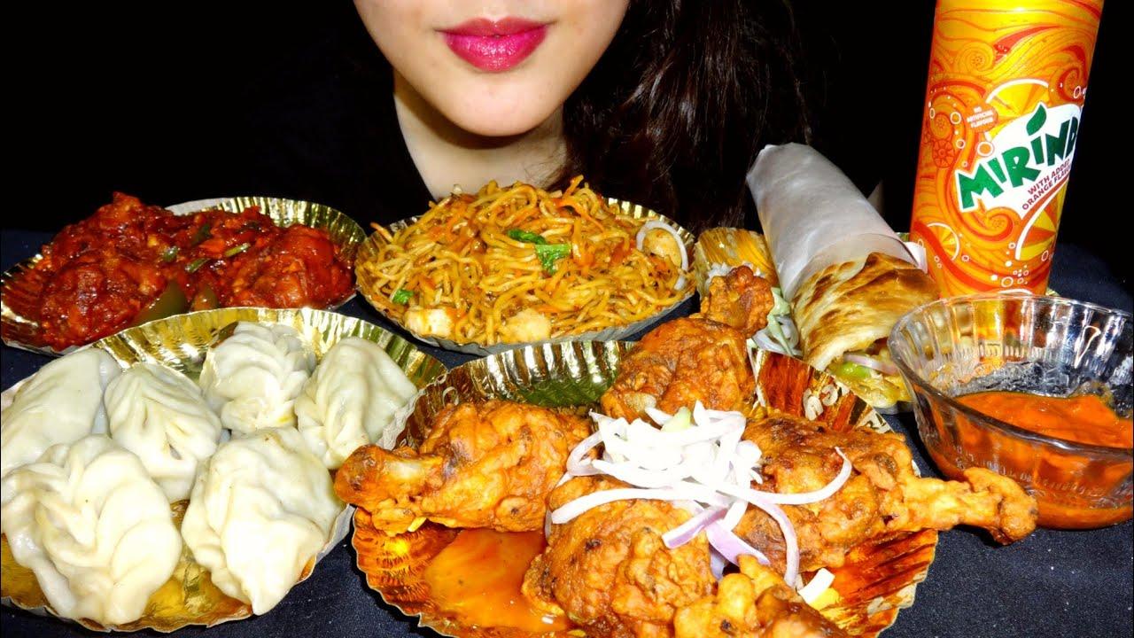 ASMR SPICY CHICKEN LOLLIPOP 🍗 MOMO, EGG ROLL, CHICKEN CHOWMEIN || INDIAN STREET FOOD || CHAAT ASMR