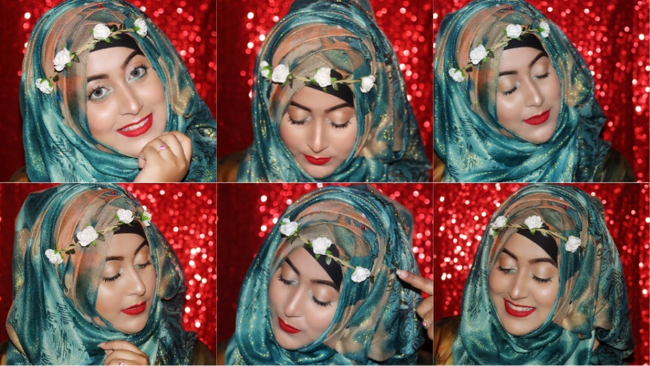 Simple Hijab Style With Flower Crown Youtube