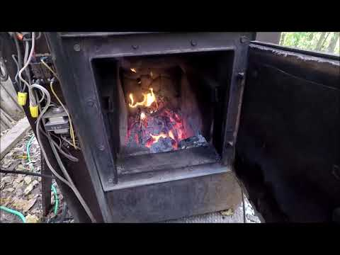 DIY Outside Wood Burning Forced Air Furnace FREE HEAT In The Winter