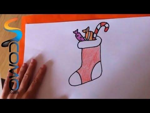 Cómo dibujar un calcetín de Navidad