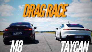 شاهد سباق التسارع بين بورش تايكان تيربو S وبي إم دبليو M8 جران كوبيه