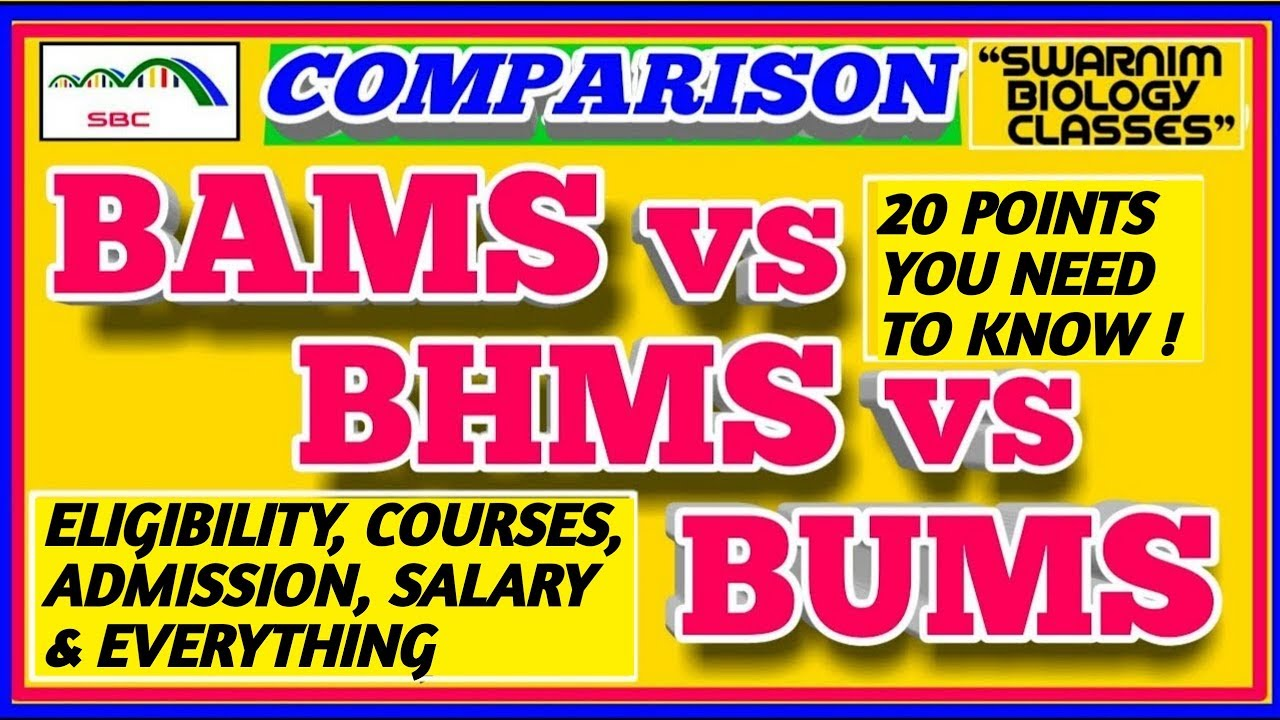 BAMS vs BHMS vs BUMS 2020  WHICH ONE IS BETTER-AYURVEDA,HOMEOPATHY & UNANI  COURSES with 20 POINTS