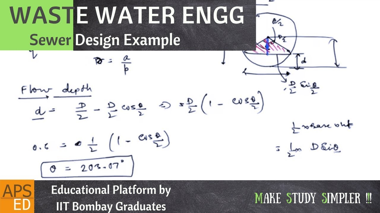 sewer design example waste water engineering youtube
