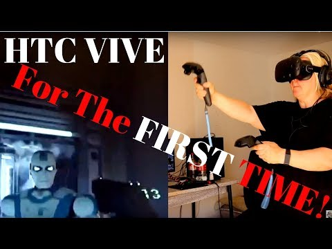 HTC VIVE VR  FIRST TIME PLAYER  playing RAW DATA game Family fun with VIVE RV