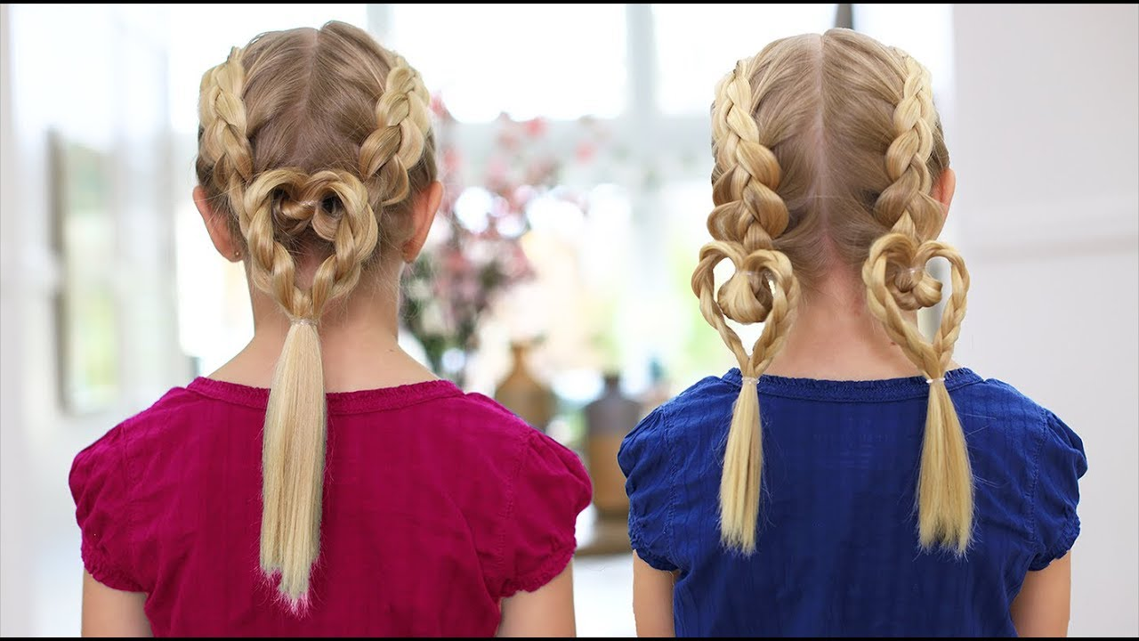 Valentines Hairstyles: Dutch Heart Braids 2-in-1