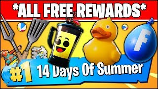 *ALL FREE REWARDS* 14 Days Of Summer Challenges in FORTNITE
