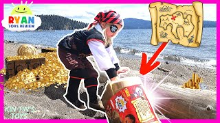 Kin Tin Opens Ryan ToysReview NEW Ryan's World Mega Mystery Treasure Chest! | Pirate Treasure Hunt