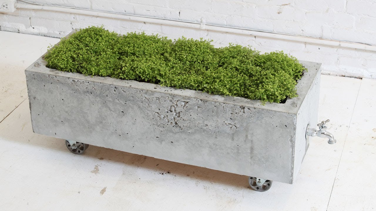 Diy concrete planter episode 16 homemade modern doovi Concrete planters