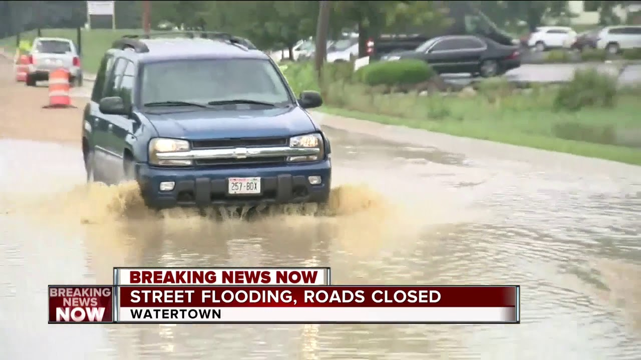 Watertown flash flooding causes road closures and abandoned cars