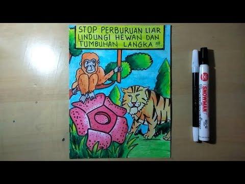 Cara Membuat Poster Hewan Dan Tumbuhan Langka Youtube