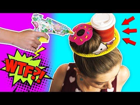 Повторяю безумную прическу из интернета / Завтрак из волос / Пончик и кофе на голове 🐞 Afinka