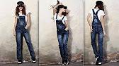 джинсовый комбинезон шорты женский купить - YouTube