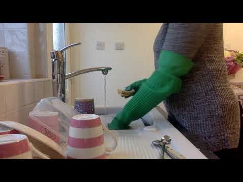 #ASMR Mummy Washes Dishes Wearing Very Long Green Household Rubber Gloves Relaxi