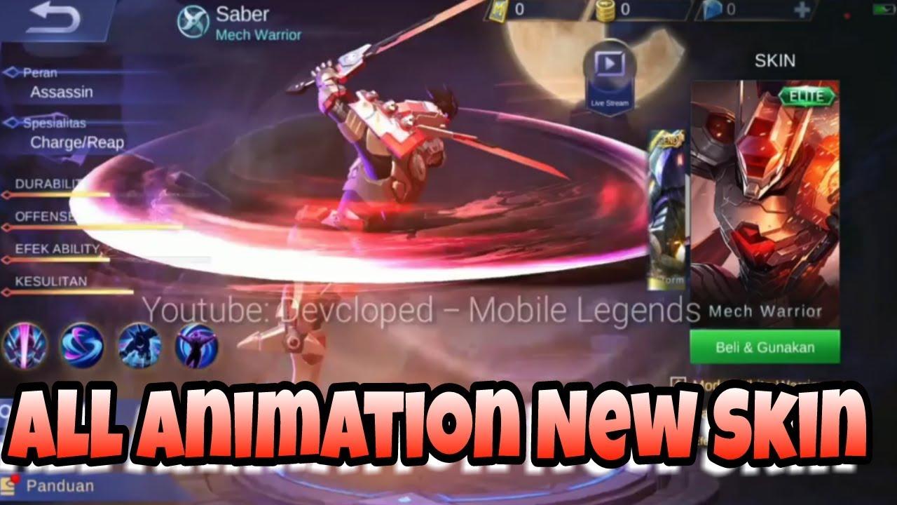 (Animation Skin) Saber,Layla,Karie,Moskov,Vexana,Alpha,Rafael,Yi sun shin -New Update Mobile Legends