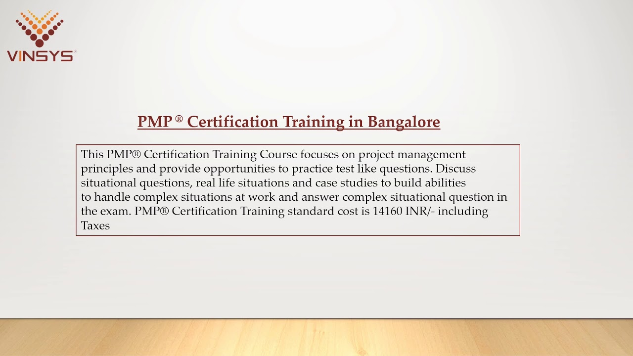 Pmp Certification Training Pmi Pmp Course In Bangalore By
