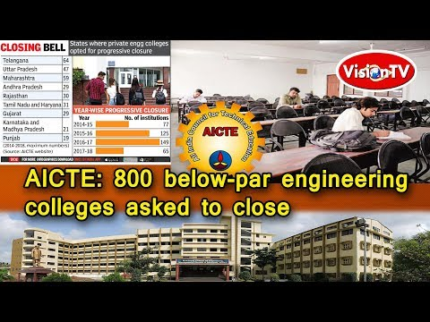 AICTE: 800 below-par engineering colleges asked to close. Vision TV World.