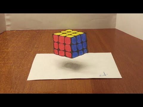 Как нарисовать 3D РИСУНОК на бумаге карандашом. КУБИК РУБИКА. How to draw 3D