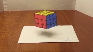 Как нарисовать 3D РИСУНОК на бумаге карандашом. КУБИК РУБИКА. How to draw 3D(Как нарисовать 3D РИСУНОК на бумаге карандашом.How to draw 3D. Здравствуйте, в этом видео вы увидите, как нарисоват..., 2016-02-14T09:27:08.000Z)