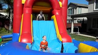 Water Slide Bouncy House Kids Playing Having A Blast! 123jumpnplay.com