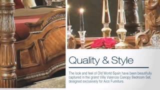 Villa Valencia Canopy Bedroom Set - Aico Furniture - Colemanfurniture.com