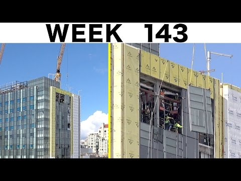 Assorted construction time-lapse clips: Week 143: More curtain wall glass, plus other bits