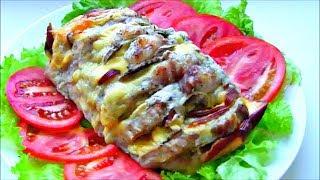 """Мясная  """" Книжка """" с сыром и грибами / Свинина запеченная в духовке / Мясная Гармошка"""