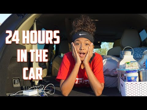24 Hour Challenge Overnight in My Moms Car | LexiVee03