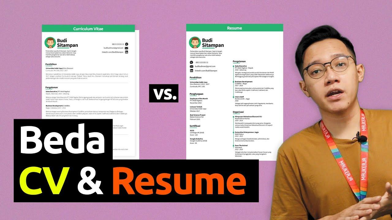 Ini Bedanya Resume Dengan Cv Curriculum Vitae Youtube