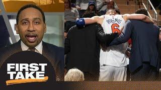 Stephen A. Smith's rant on Knicks after Kristaps Porzingis injury | First Take | ESPN