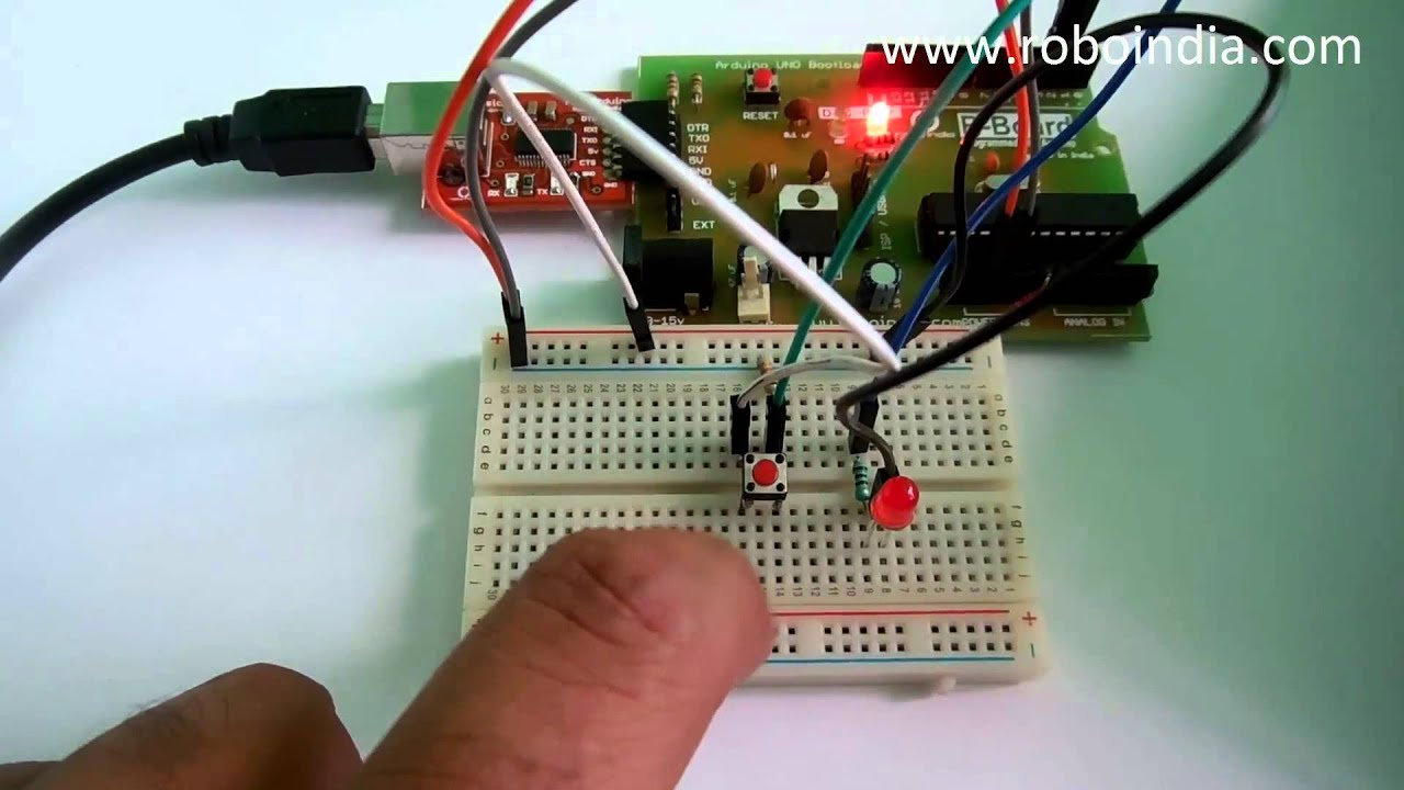 Arduino - Digital Input & Output | Pushbutton & LED - Robo