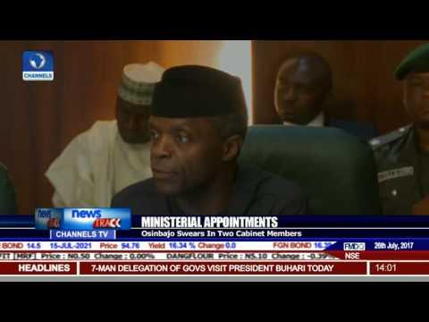Ministerial Appointments: Osinbajo Swears-In Two Cabinet Members