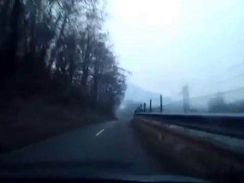 Slovenia drive:Old road to Brežice parallel with highway Ljubljana-Zagreb