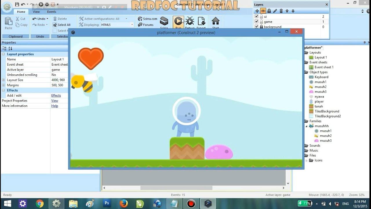 tutorial construct 2 membuat game platformer part 2