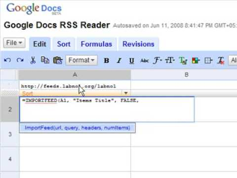ImportFeed - Fetch RSS Feeds into Google Docs