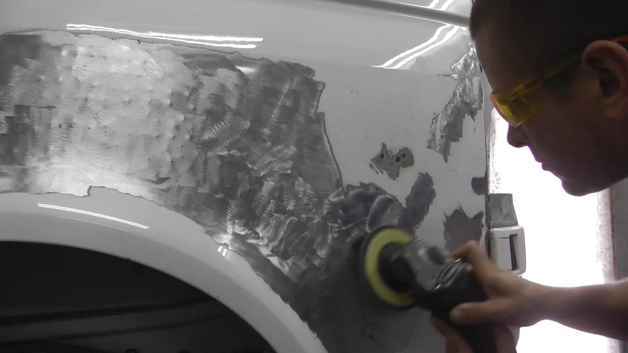 Volkswagen T5. Рихтовка крыла споттером в подробностях. ФИНИШ.