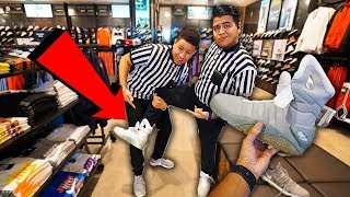 GIVING NIKE MAGS TO FOOTLOCKER EMPLOYEE!