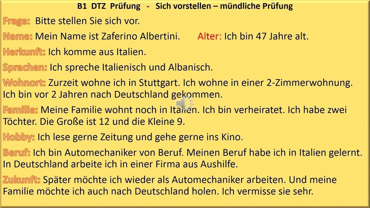 sich vorstellen b1 pr252fung deutsch lernen m252ndliche
