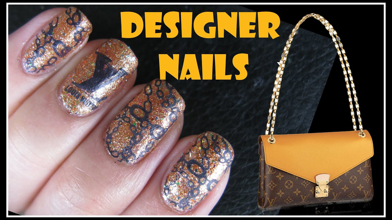 KONAD STAMPING NAIL ART TUTORIAL - GOLD CHAIN LV DESIGNER NAILS XL ...