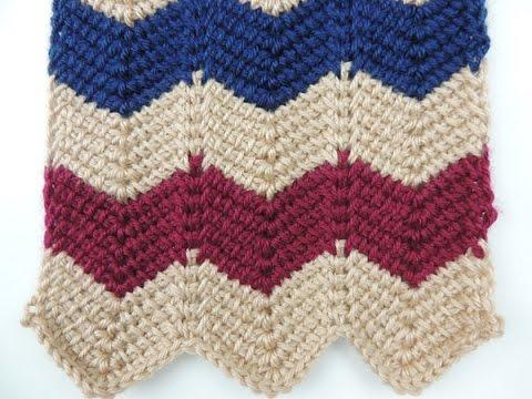 Crochet Tunecino: Punto en Zig Zag - YouTube